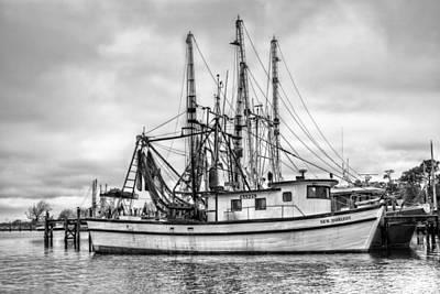 Mobile Al Photograph - Portrait Of A Shrimp Boat Bw by JC Findley