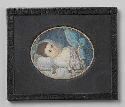 Portrait Of A Sick Girl Lying In Bed, George Nikolaus Ritter Art Print by Litz Collection