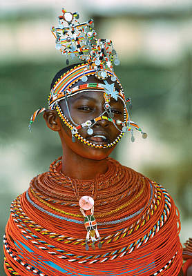 Indigenous Culture Photograph - Portrait Of A Teenage Girl Smiling by Panoramic Images