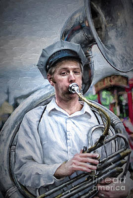 Photograph - Portrait Of A Tuba Player Nola - Painting by Kathleen K Parker