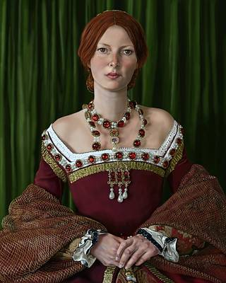 Portrait Of A Tudor Lady Art Print by Mark Satchwill