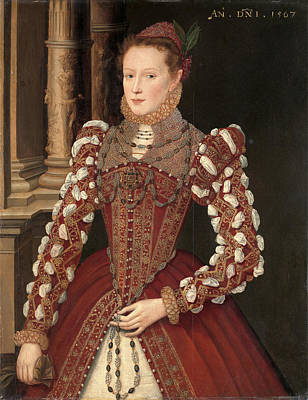 Wood Pendant Painting - Portrait Of A Woman A Young Lady, Dated 1567 Dated by Litz Collection