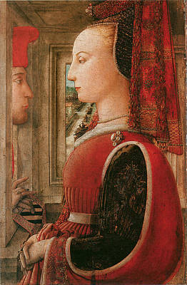 Of A Man And Woman Painting - Portrait Of A Woman And A Man At A Casement by Fra Pilippo Lippi