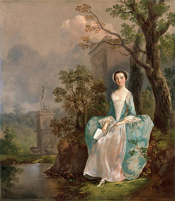 Portrait Of A Woman Girl With A Book Seated In A Park Print by Litz Collection