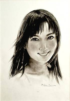 Traditional Drawing - Portrait Of A Woman by Hirokazu Tomimasu