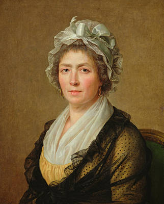 Earrings Photograph - Portrait Of A Woman, Or The Governess Of The The Artists Children Oil On Canvas by Jacques Louis David