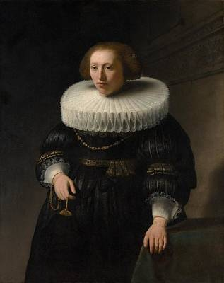 Netherlands Painting - Portrait Of A Woman by Rembrandt van Rijn