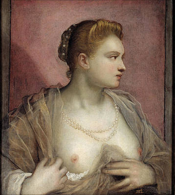 Reveal Painting - Portrait Of A Woman Revealing Her Breasts by Tintoretto