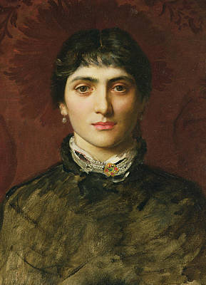 Woman With Black Hair Painting - Portrait Of A Woman With Dark Hair by Valentine Cameron Prinsep