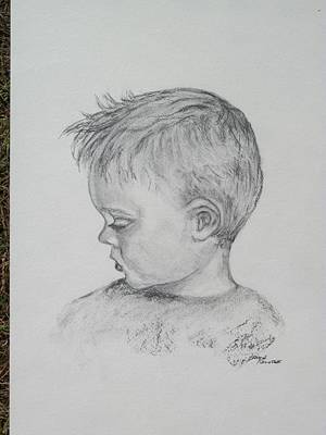 Portrait Of A Young Boy Art Print by Paula Rountree Bischoff