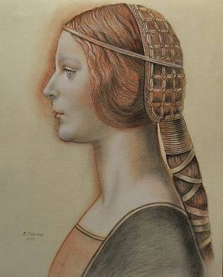 Drawing - Portrait Of A Young Fiancee by Nathalie Chavieve