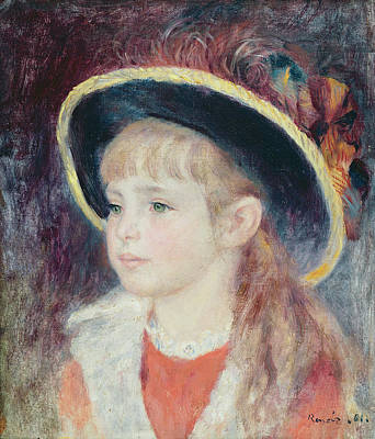French Sign Art Painting - Portrait Of A Young Girl In A Blue Hat, 1881 Oil On Canvas by Pierre Auguste Renoir