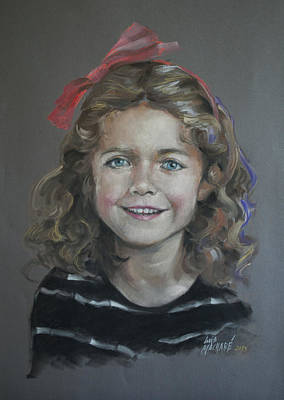 Portrait Of A Young Girl Print by Mary Machare