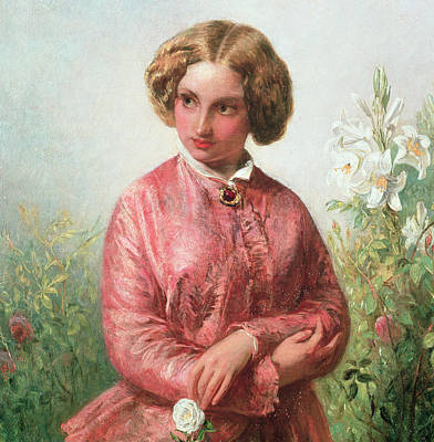 With Hands Painting - Portrait Of A Young Girl With A Rose by Abraham Solomon