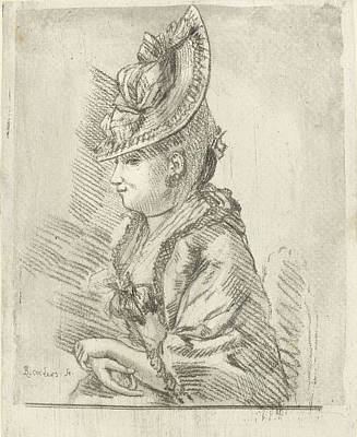 Portrait Of A Young Lady With Hat In Profile Art Print by Louis Bernard Coclers