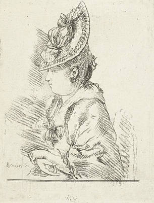 Portrait Of A Young Lady With Hat In Profile To The Left Art Print by Louis Bernard Coclers
