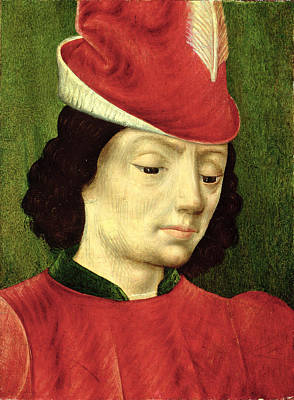 Feathered Hat Painting - Portrait Of A Young Man by Master of Moulins