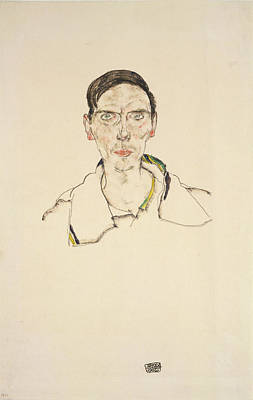 Drawing - Portrait Of A Young Man Wearing Sports by Egon Schiele