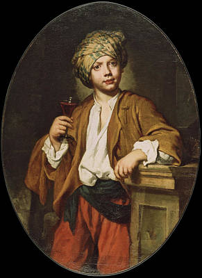 Glass Of Wine Painting - Portrait Of A Young Man With A Turban by Fra Galgario