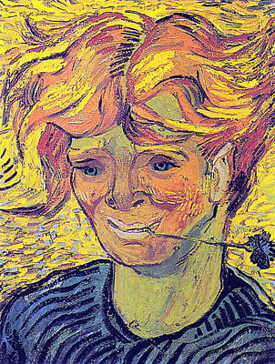 Digital Art - Portrait Of A Young Man With Cornflower by Vincent Van Gogh