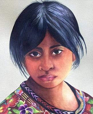 Painting - Portrait Of A Young Mayan Girl by Susan Santiago