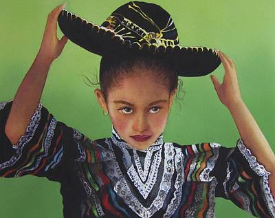 Painting - Portrait Of A Young Mexican Girl by Susan Santiago