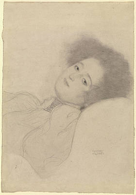 Klimt Drawing - Portrait Of A Young Woman Reclining Gustav Klimt by Litz Collection