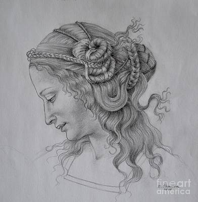 Drawing - Portrait Of A Young Women by Nathalie Chavieve