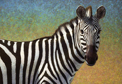 Realistic Painting - Portrait Of A Zebra by James W Johnson