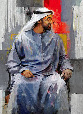 Portrait Of Abdullah Bin Zayed Al Nahyen 7 Original by Maryam Mughal