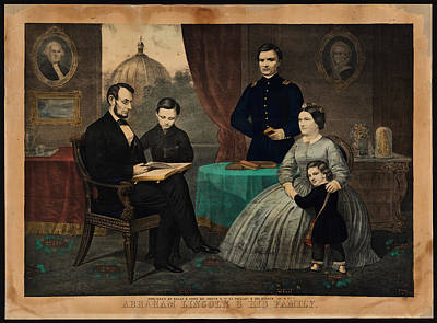 Portrait Of Abraham Lincoln And His Family Art Print by Celestial Images