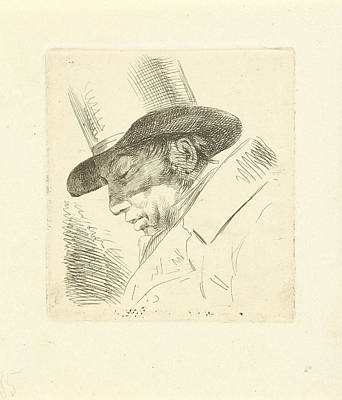 Self-portrait Drawing - Portrait Of Abraham Uytenbogaart With Top Hat by Jean Augustin Daiwaille