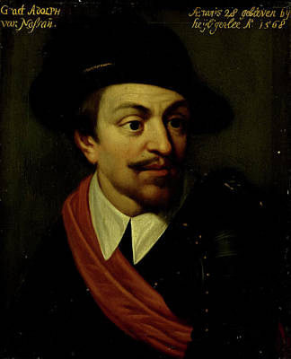 Adolf Drawing - Portrait Of Adolf, Count Of Nassau, Workshop Of Wybrand De by Litz Collection
