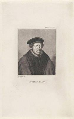 Dirk Drawing - Portrait Of Adriaan Pauw 1516-1578, Dirk Jurriaan Sluyter by Dirk Jurriaan Sluyter And Jacob Houbraken