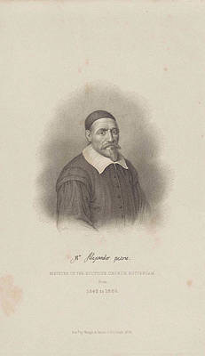Seventeenth Century Drawing - Portrait Of Alexander Petri, Philippus Velijn by Philippus Velijn And Wangh & Innes