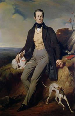 Male Dog Photograph - Portrait Of Alphonse De Lamartine 1790-1869 1830 Oil On Canvas by Henri Decaisne