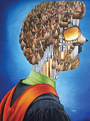 Painting - Portrait Of An Artist - Jim Meaders 1984 by O Yemi Tubi