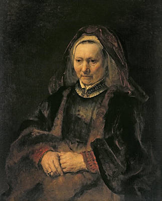 Lost In Thought Photograph - Portrait Of An Elderly Woman, C. 1650 by Rembrandt Harmensz. van Rijn