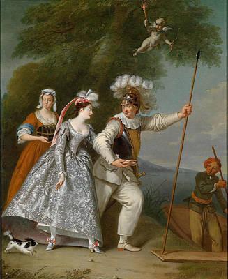 Painting - Portrait Of An Elegant Gentleman As Pierrot In A Commedia Dell'arte by Christian Wilhelm Ernst Dietrich