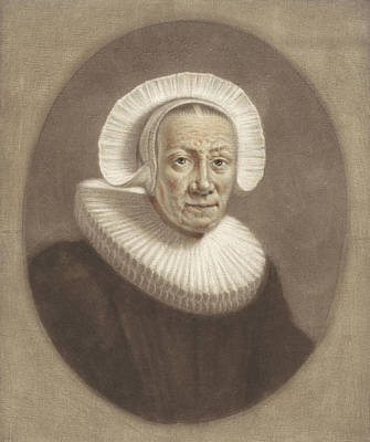 Stiff Drawing - Portrait Of An Old Woman With Wide Stiff Pleated Collar by Pieter Louw