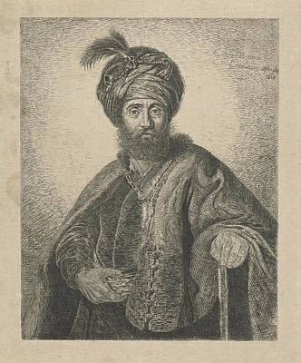 Schmidt Drawing - Portrait Of An Unknown Bearded Man With Turban by Antoine Marie Labouchere