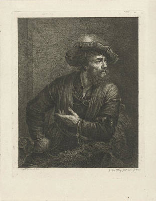 Frey Drawing - Portrait Of An Unknown Man With Feathered Beret by Johannes Pieter De Frey