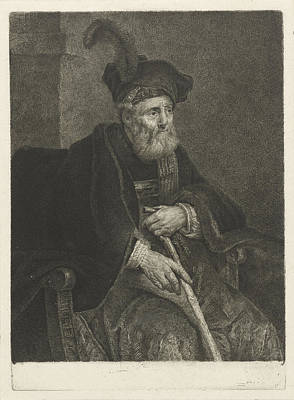 Frey Drawing - Portrait Of An Unknown Old Man In A Chair by Johannes Pieter De Frey And Philips Koninck