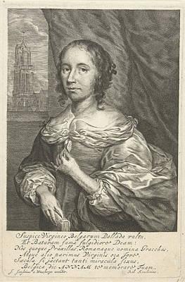 Self View Painting - Portrait Of Anna Maria Van Schurman, Cornelis Van Dalen II by Cornelis Van Dalen (ii) And Anonymous And Cornelis Janssens Van Ceulen