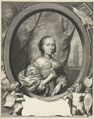 Self View Painting - Portrait Of Anna Maria Van Schurman, Cornelis Van Dalen II by Cornelis Van Dalen (ii) And Cornelis Janssens Van Ceulen