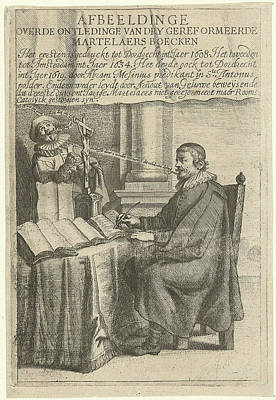 Portrait Of Arnout Van Geluwe, Writing, Attributed Art Print by Theodor Matham