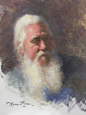 White Beard Painting - Portrait Of Artist Michael Mentler by Anna Rose Bain