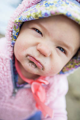 Harrison Hot Springs Wall Art - Photograph - Portrait Of Baby With Sand On Face by Christopher Kimmel