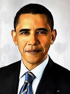 Portrait Of Barack Obama Art Print by Kai Saarto