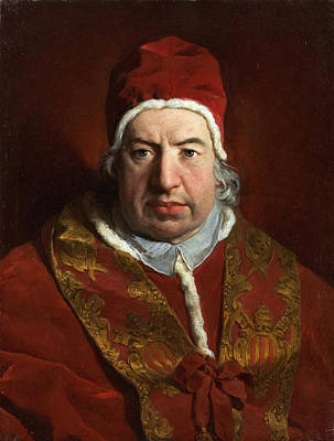 Religious Artist Painting - Portrait Of Benedict Xiv by Pierre Subleyras
